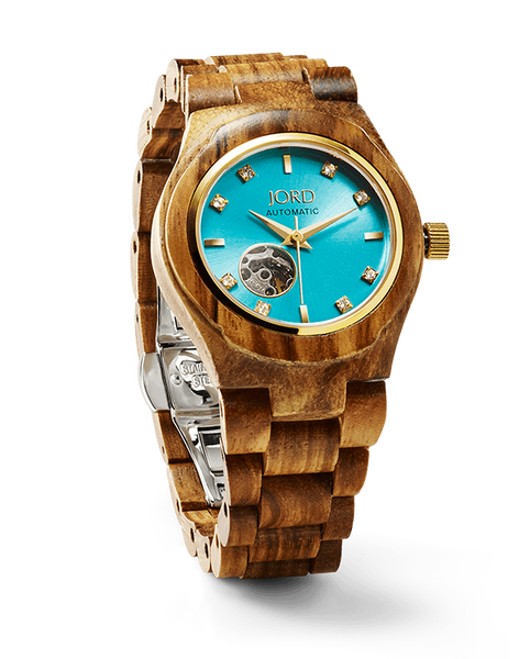 Zebrawood & Turquoise Ladies Watch Automatic