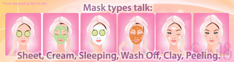 Mask types talk(A): Sheet, Cream, Sleeping, Wash Off, Clay, Peeling.