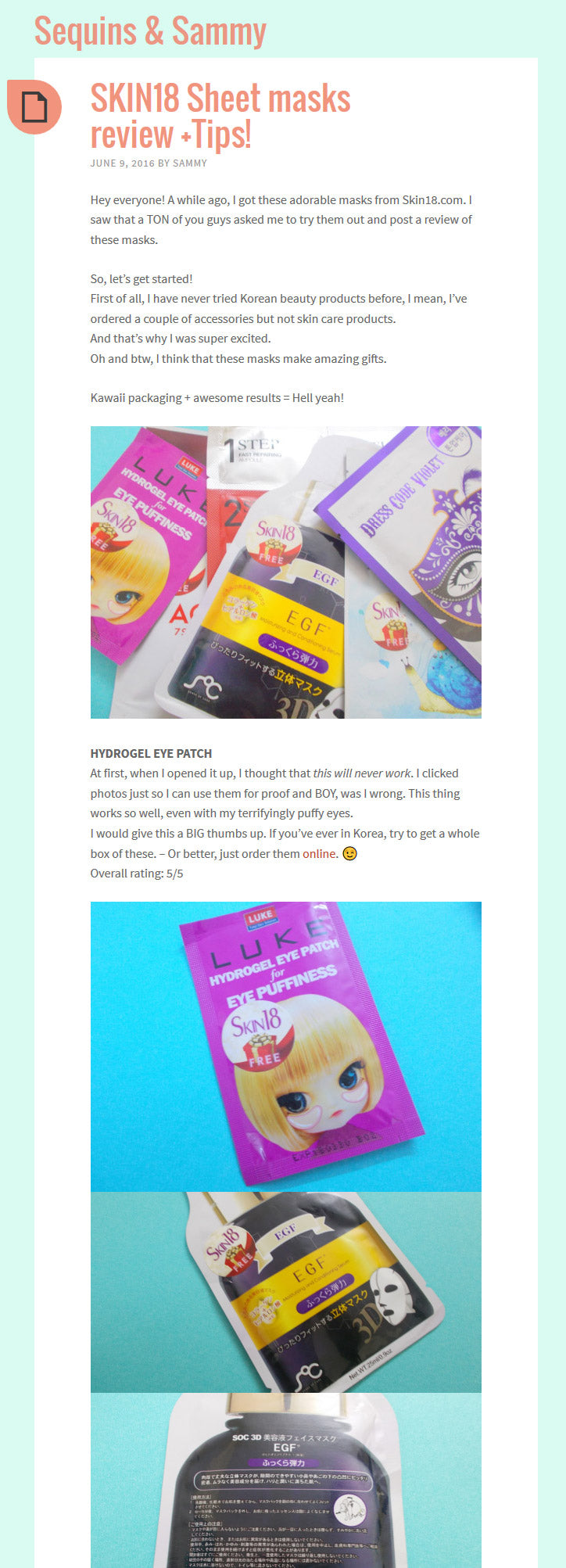 (Blogger: Sammy) SKIN18 Sheet masks review +Tips!
