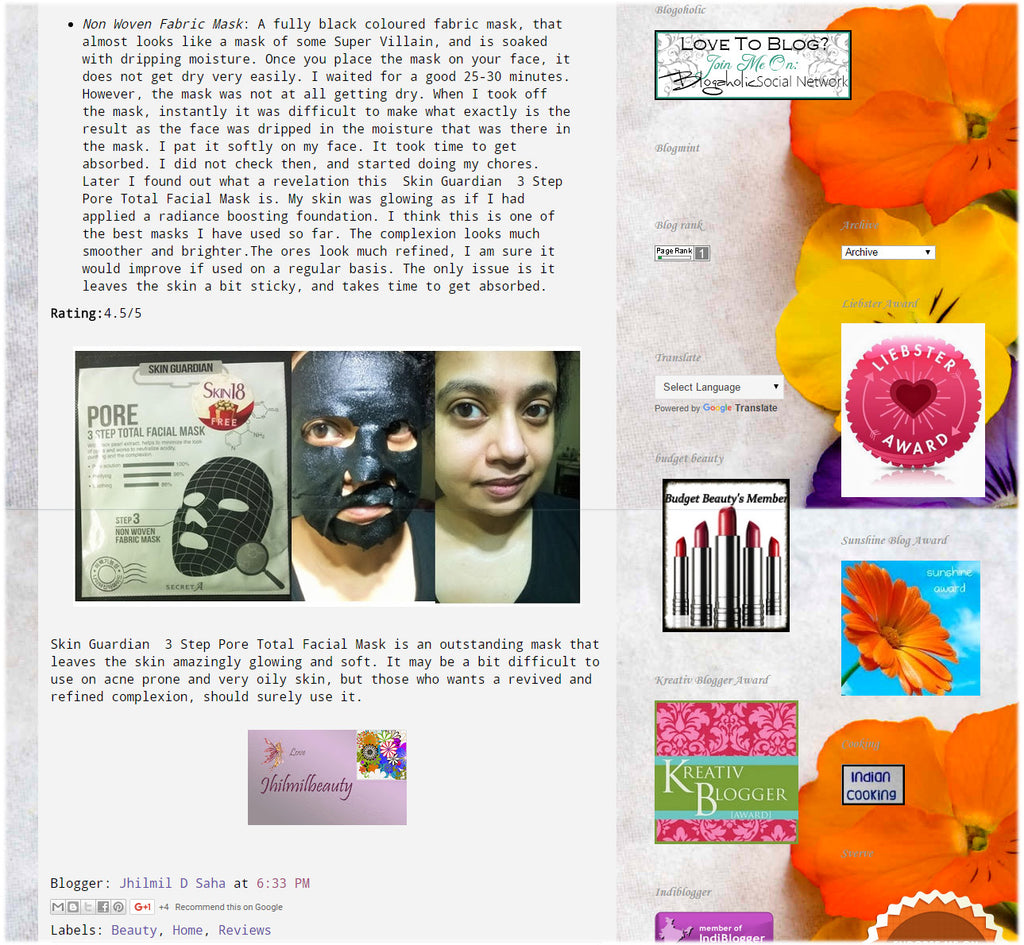 (Blogger : jhilmildsaha.com) Skin18 Masks with Skin Guardian 3 Step Pore Total Facial Mask Review 5