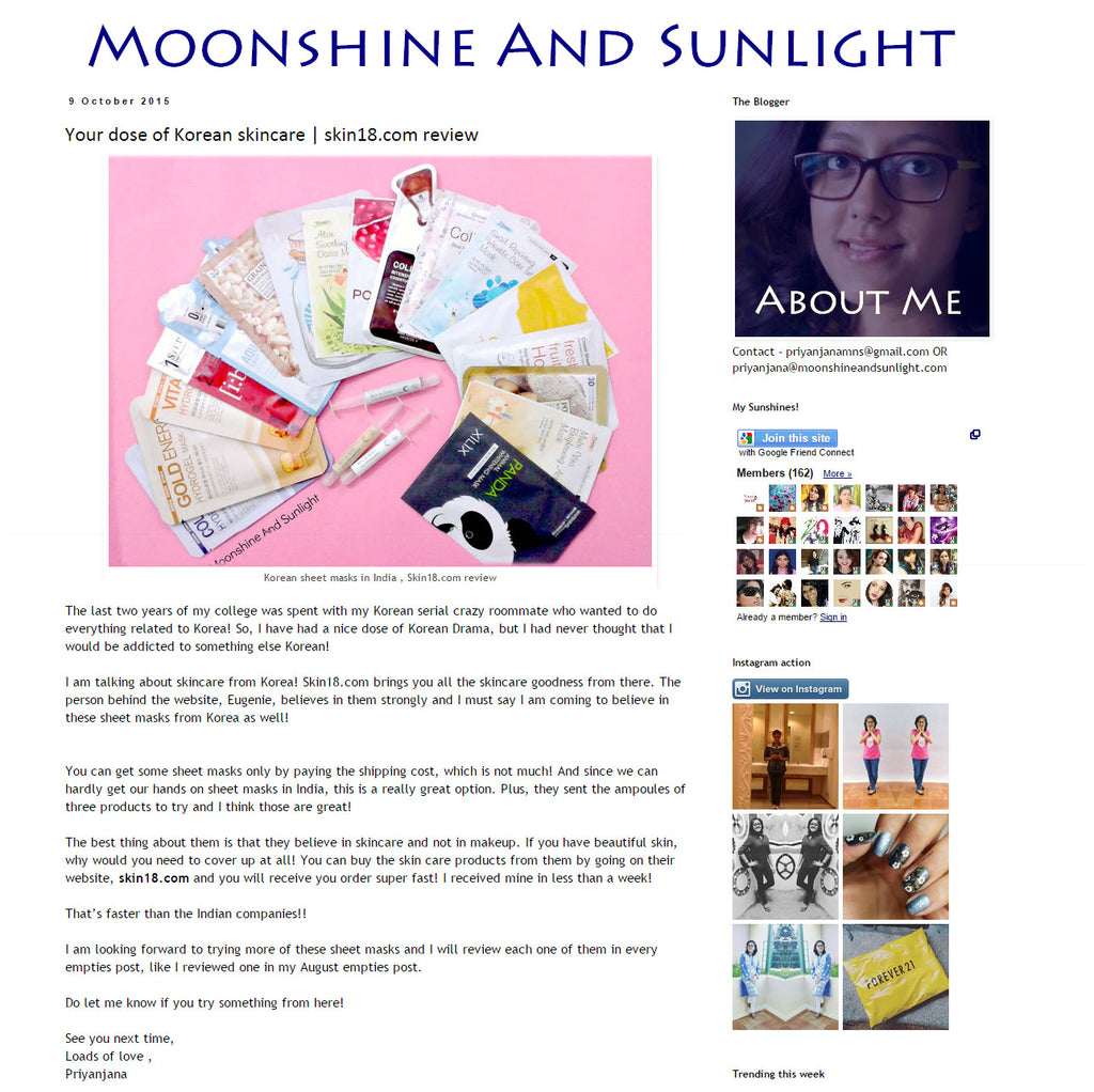 (Blogger : moonshineandsunlight.com) Your dose of Korean skincare | skin18.com review 1