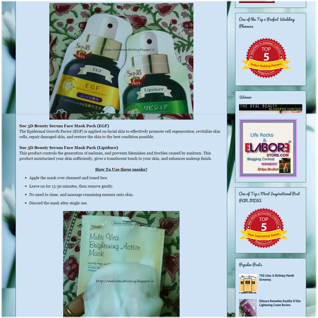 (Blogger : maliveandkicking.blogspot.in) Korean Skin Care With Skin18 Mask Sheets 3