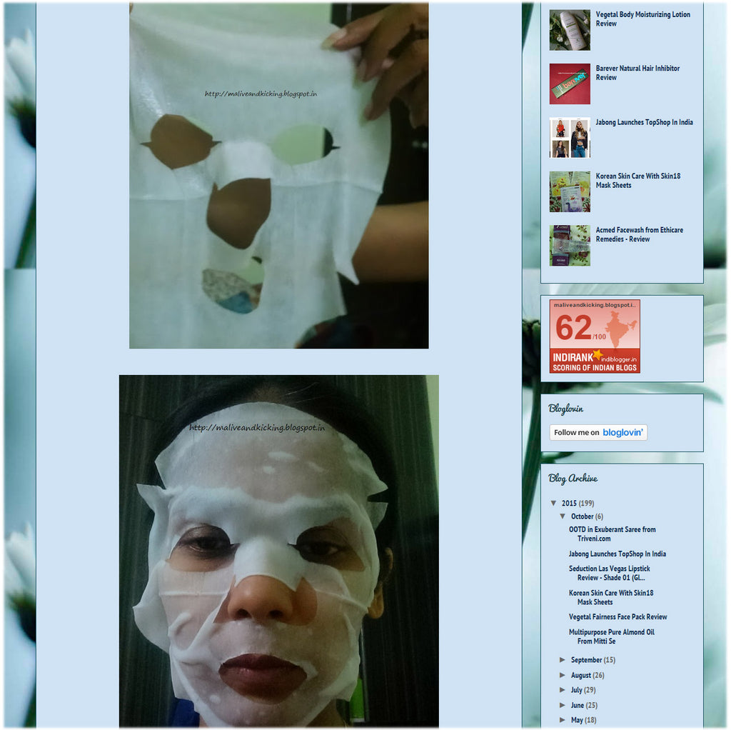 (Blogger : maliveandkicking.blogspot.in) Korean Skin Care With Skin18 Mask Sheets 4