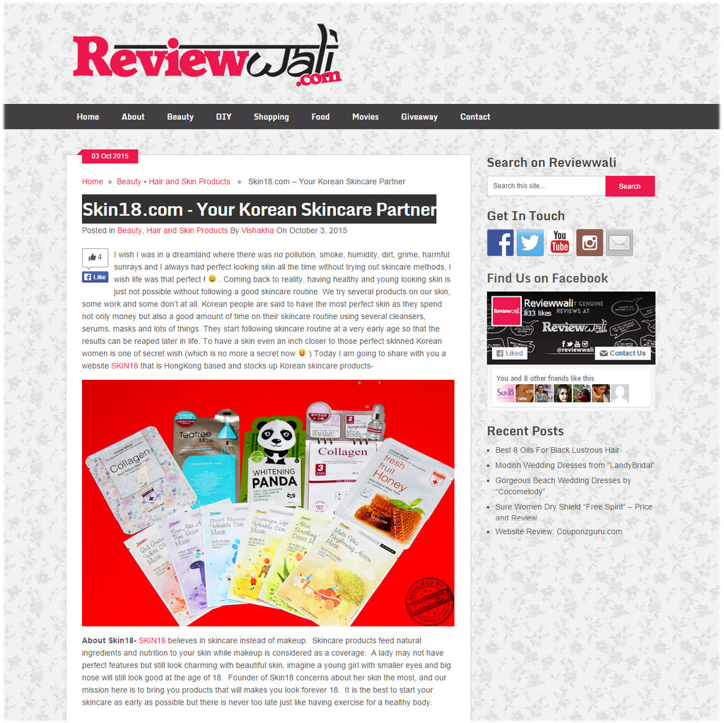 (Blogger : reviewwali.com) Skin18.com – Your Korean Skincare Partner 1