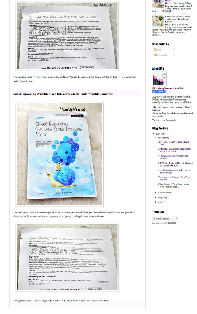 "(Blogger : makeupntrend.blogspot.in) 6 Four Seasons Face sheet masks from ""Skin18.com"" Review 3"
