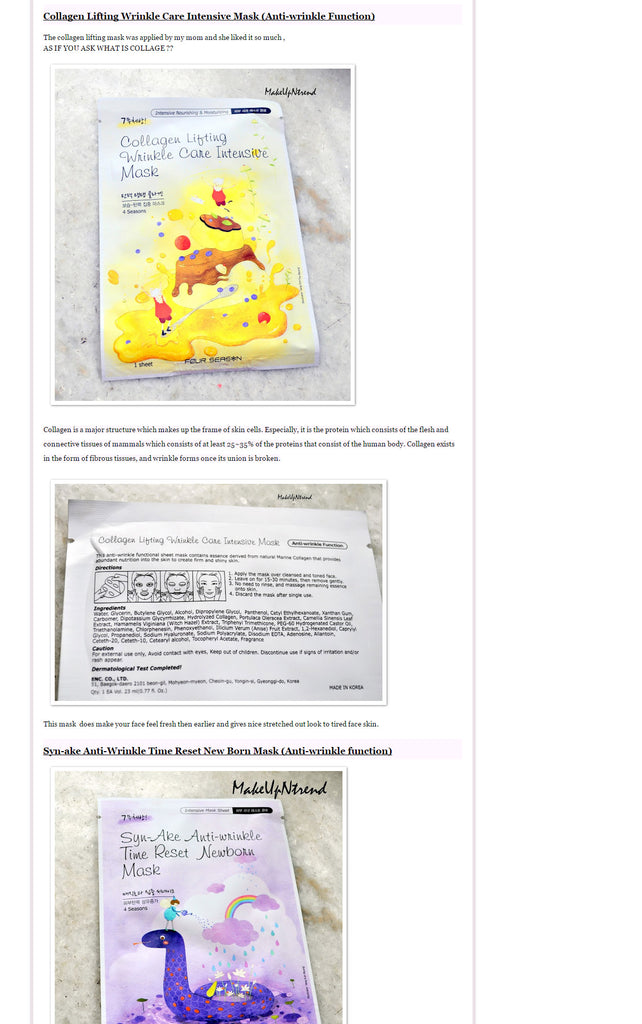 "(Blogger : makeupntrend.blogspot.in) 6 Four Seasons Face sheet masks from ""Skin18.com"" Review 4"