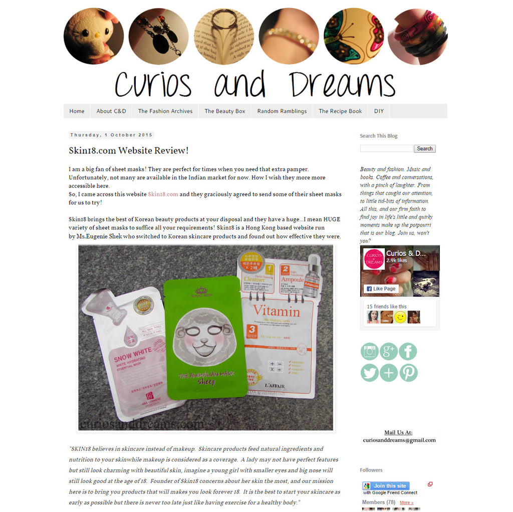 (Blogger : curiosanddreams.com) Skin18.com Website Review! 1