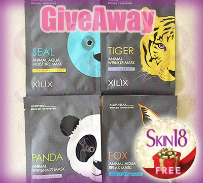 Skin18 International Giveaway (H) x4pcs of Xilix Animal Facial Masks (Fox:AQUA, Panda:whitening, Seal:AQUA, Tiger:anti-wrinkle)