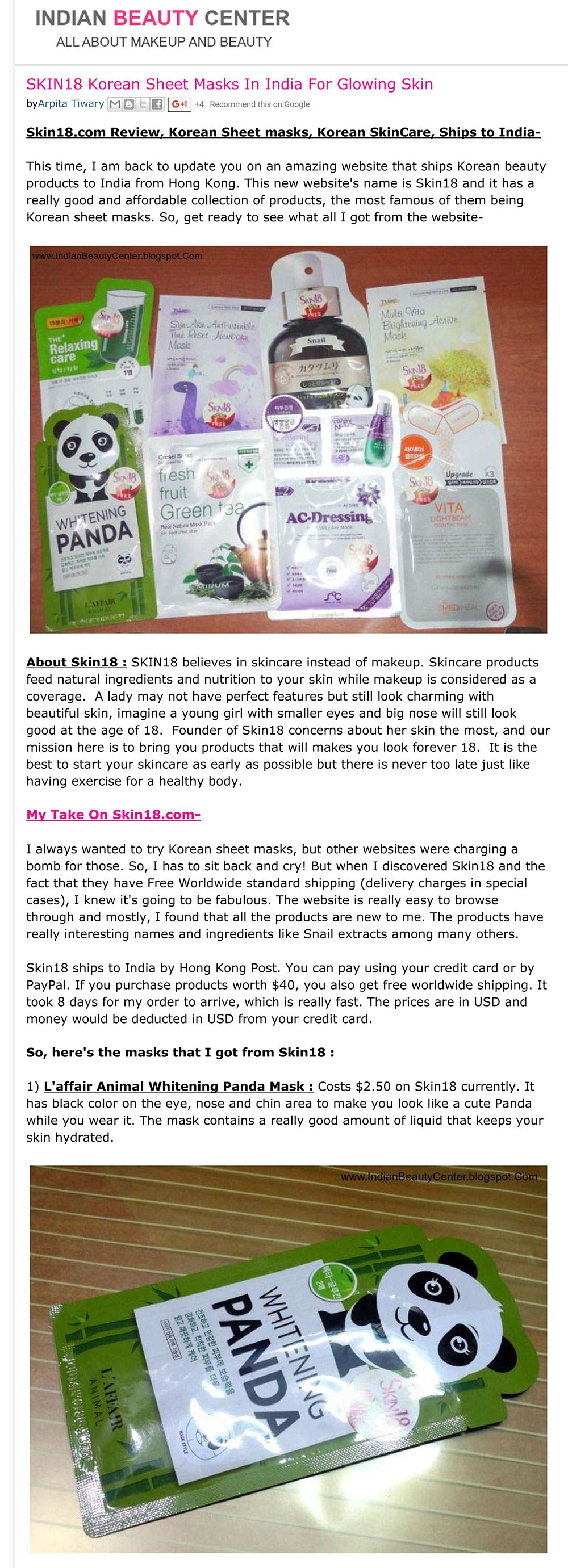 Skin18.com Review, Korean Sheet masks, Korean SkinCare, Ships to India-
