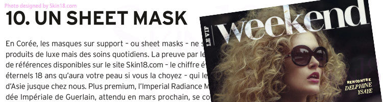 Skin18 Featured in [ Le Vif Weekend ] The 20 new gestures and products to adopt in 2017