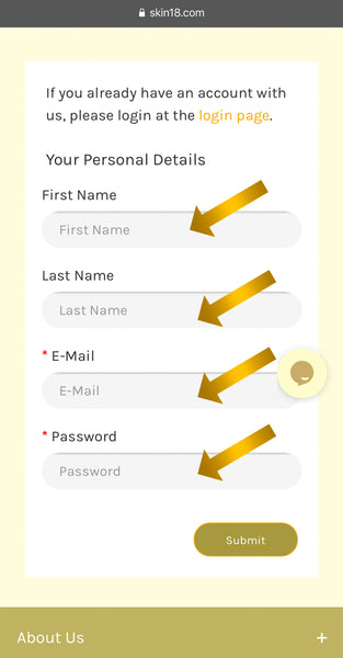 Step (4) Insert First name, Last name, Email and selected Password