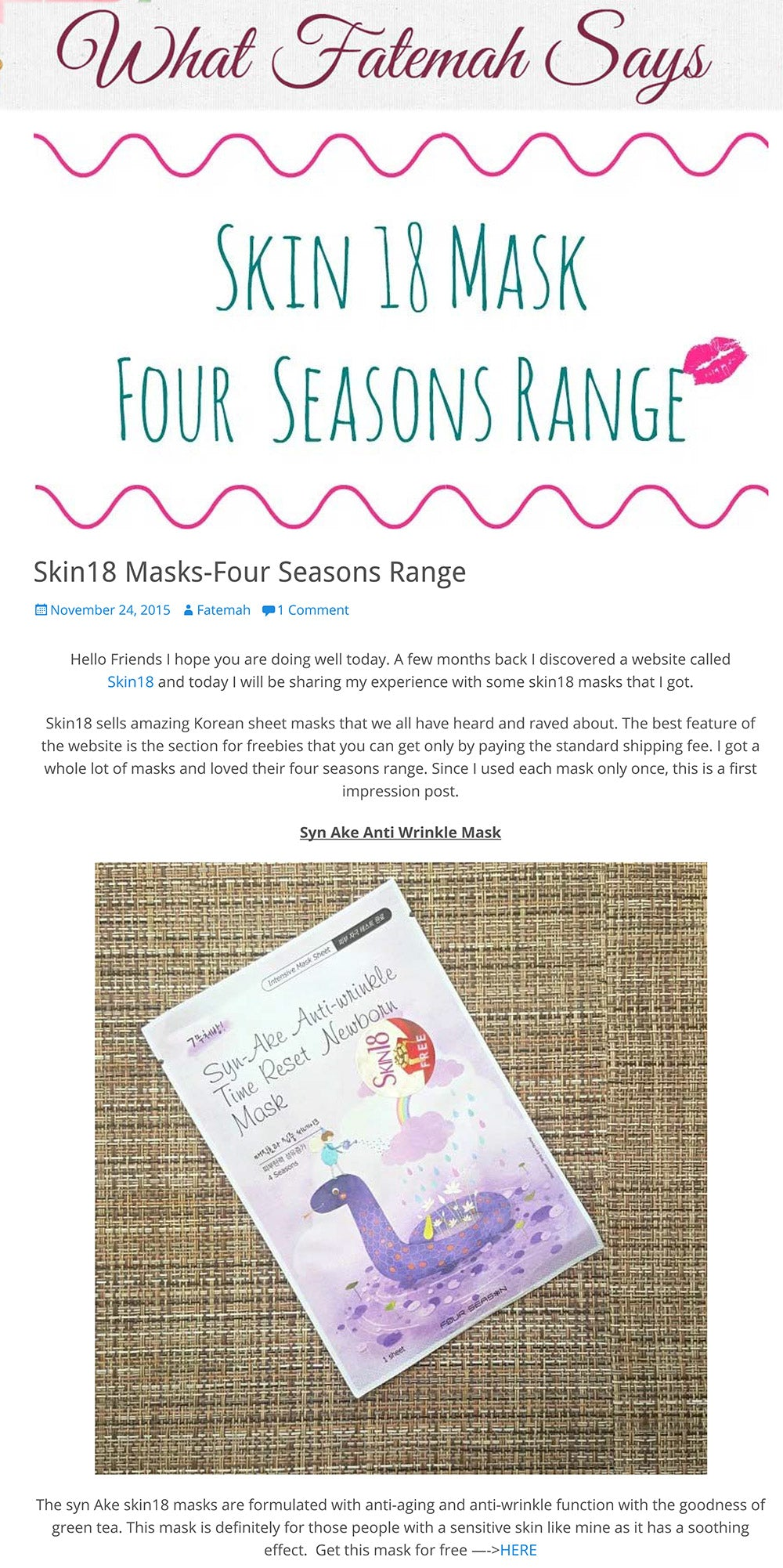Skin18 Masks-Four Seasons Range