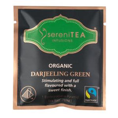 sereniTEA Organic Darjeeling Green - Enveloped Pyramid Tea Bags (100 pcs)