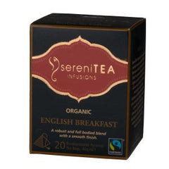 sereniTEA Organic English Breakfast- Enveloped Pyramid Tea Bags (20 pcs)