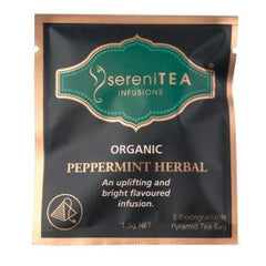 sereniTEA Organic Peppermint Herbal - Enveloped Pyramid Tea Bags (20 pcs)