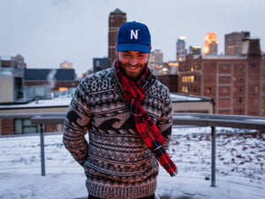 Mill City Fineries Red Plaid Wool Scarf worn on Minneapolis rooftop