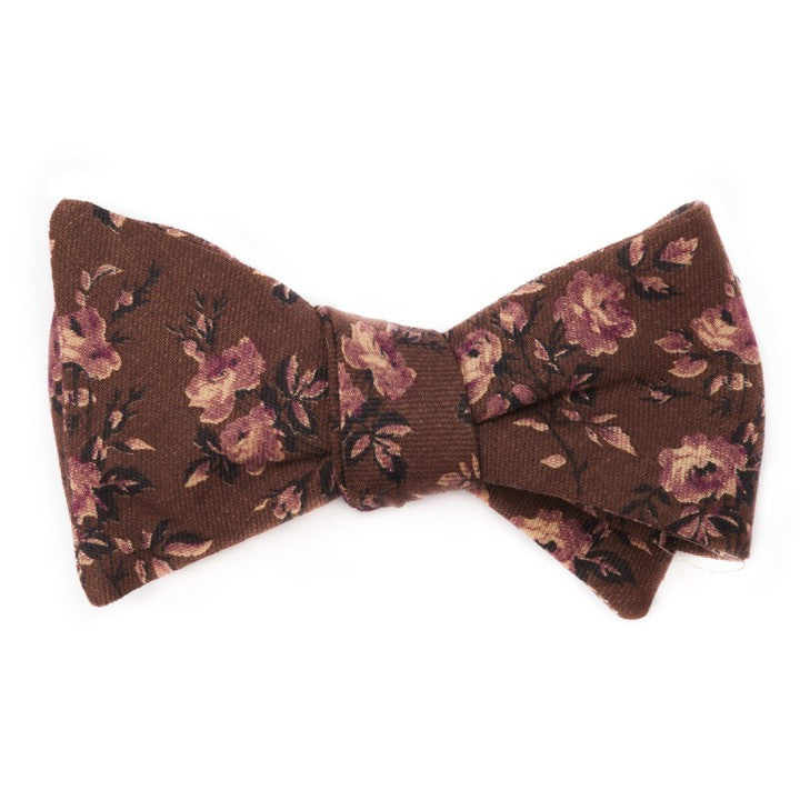 1970's Brown and Purple Floral Bow Tie