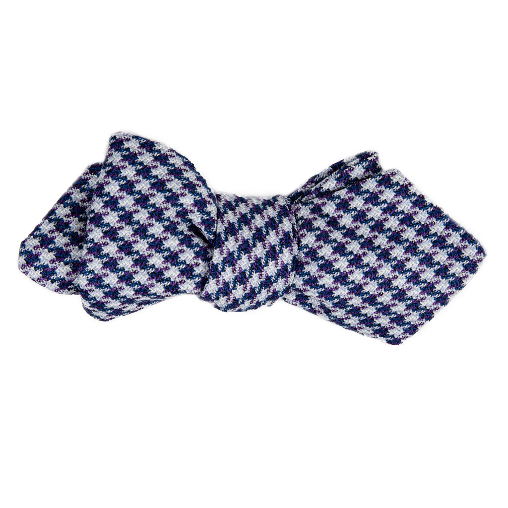 Royale blue white houndstooth bow tie Mill City Fineries