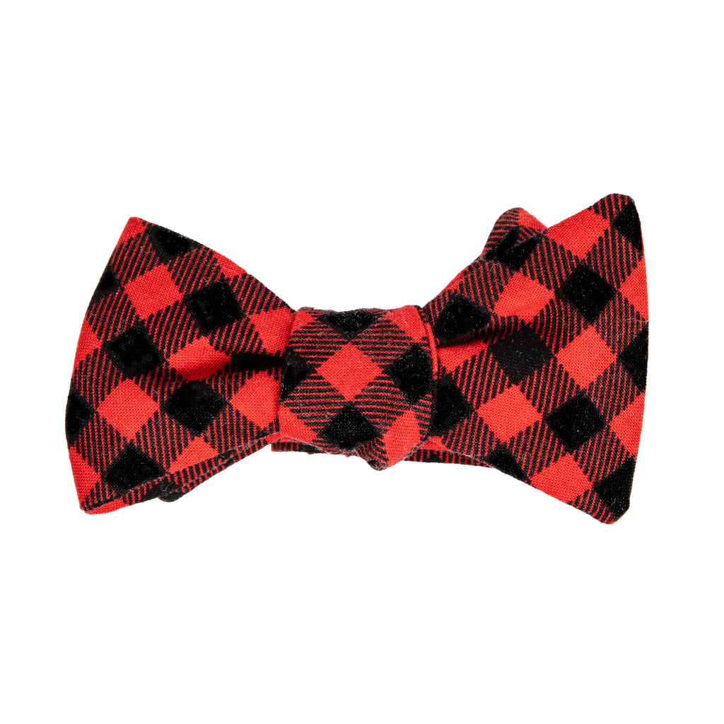 Red Black plaid bow tie Mill City Fineries