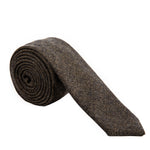 brown black herringbone wool necktie Mill City Fineries