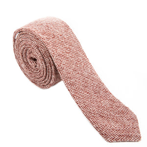 red pink white herringbone wool necktie Mill City Fineries