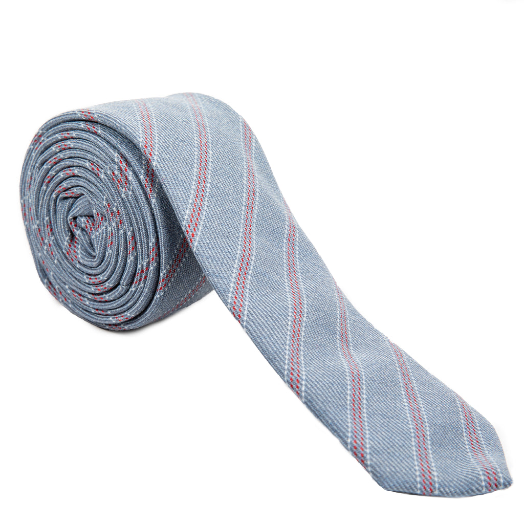 light blue and red stripe Italian wool necktie Mill City Fineries