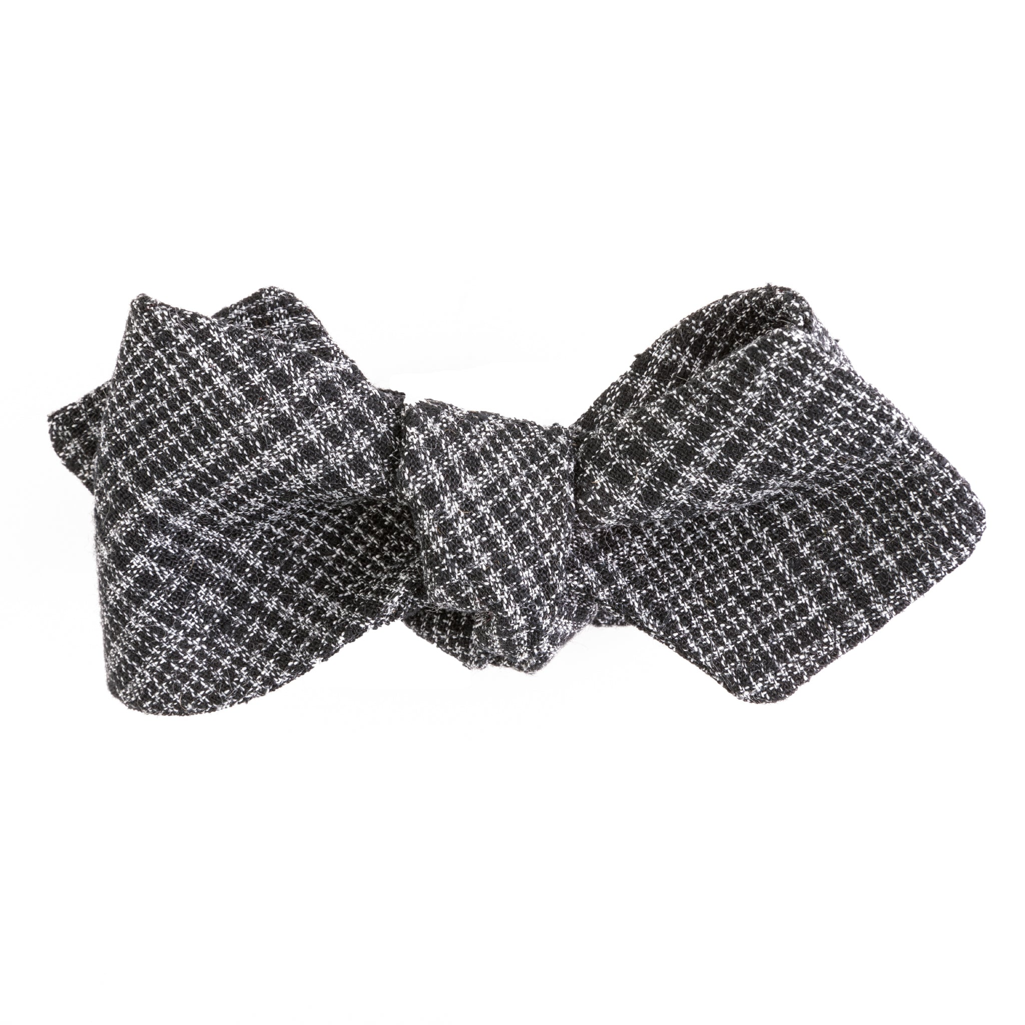 1960's Charcoal Glen Plaid Cotton Diamond Point Bow Tie