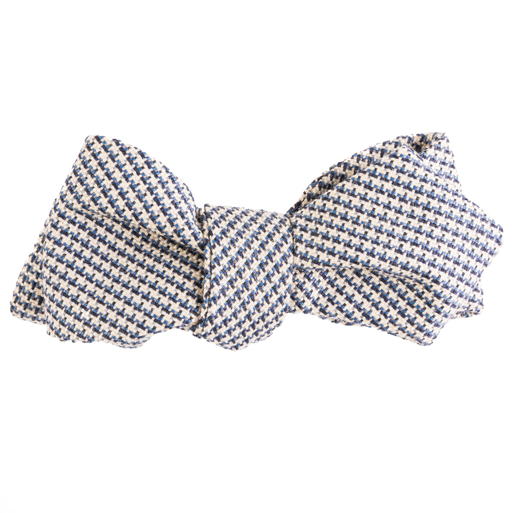 Navy & Tan Houndstooth Bow Tie
