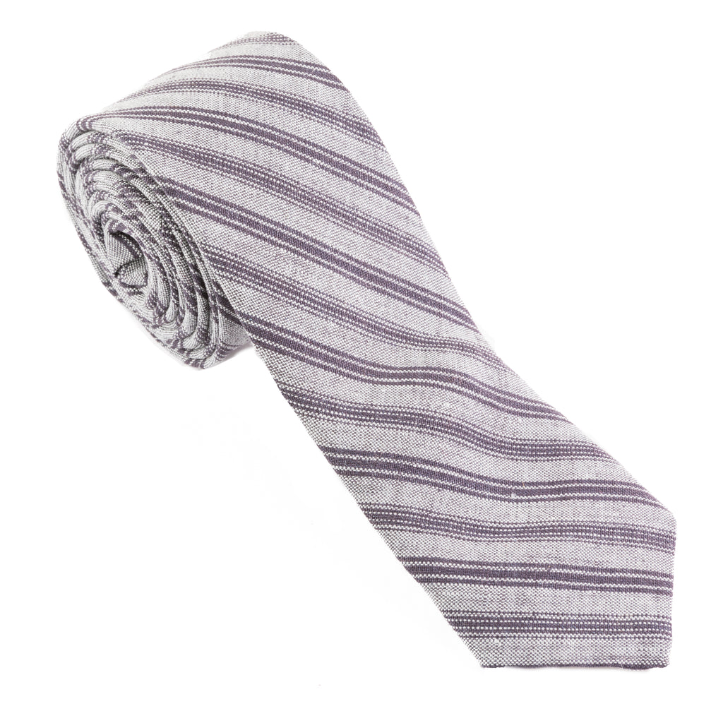 Blue Gray Linen Stripe Necktie