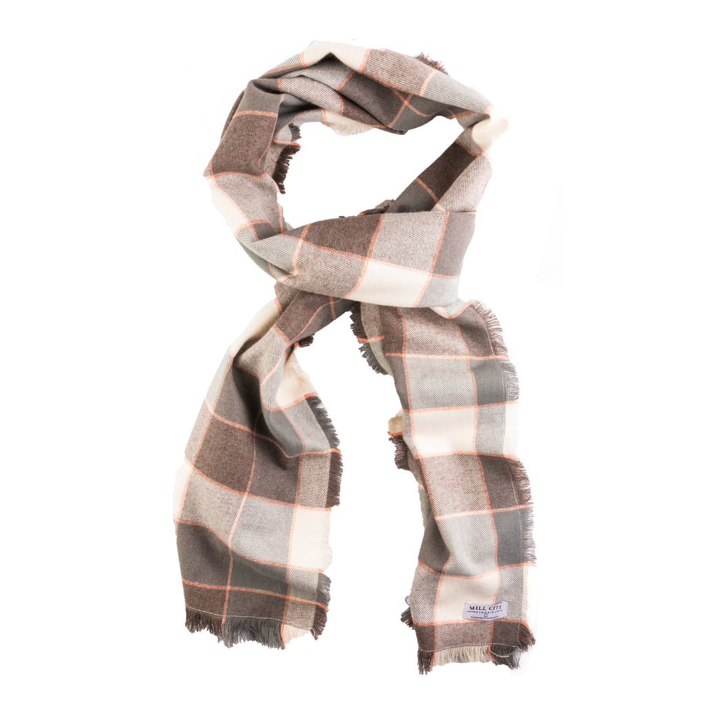 Shale Plaid Cotton Flannel Wide Scarf