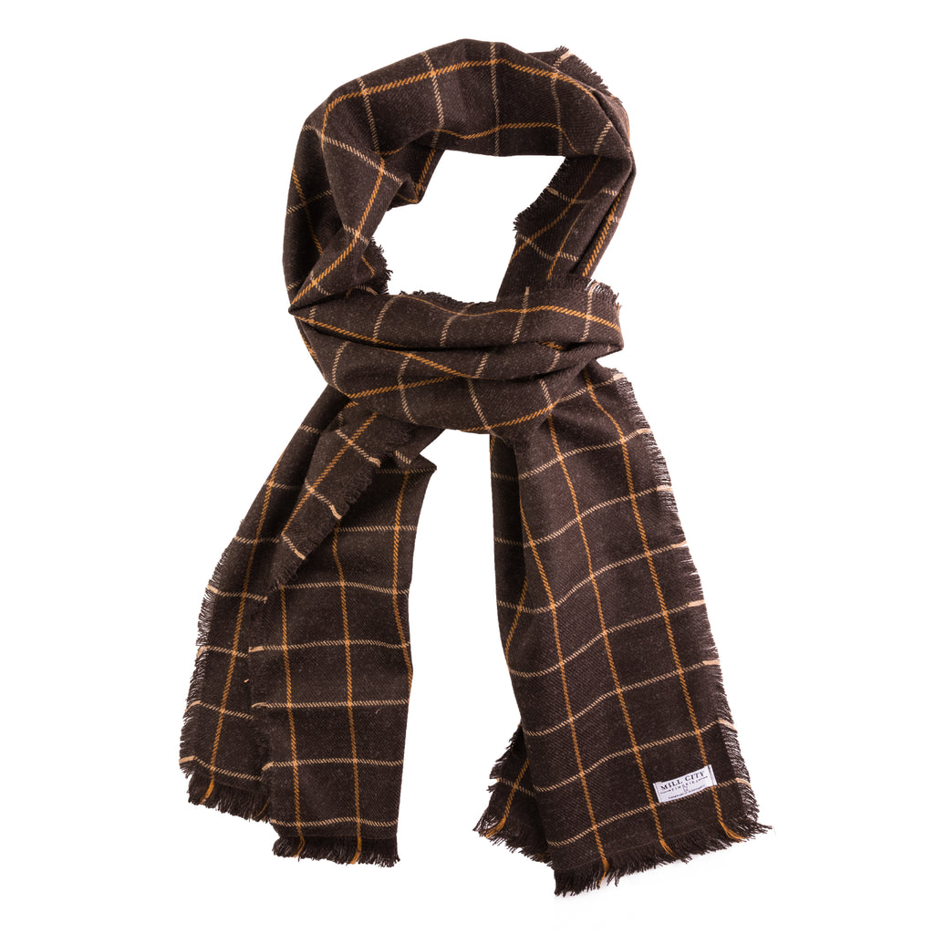 Café Windowpane Wool Scarf