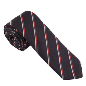 navy tie with thin red and white stripe from Mill City Fineries