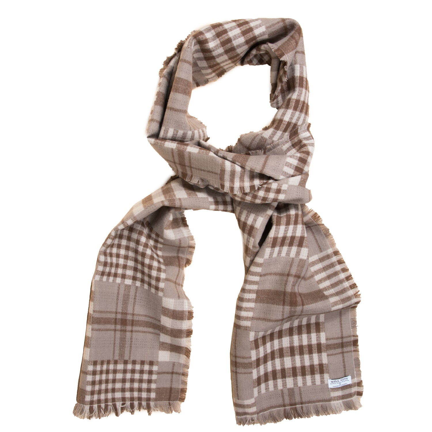 Brown Multicheck Scarf (Wide)