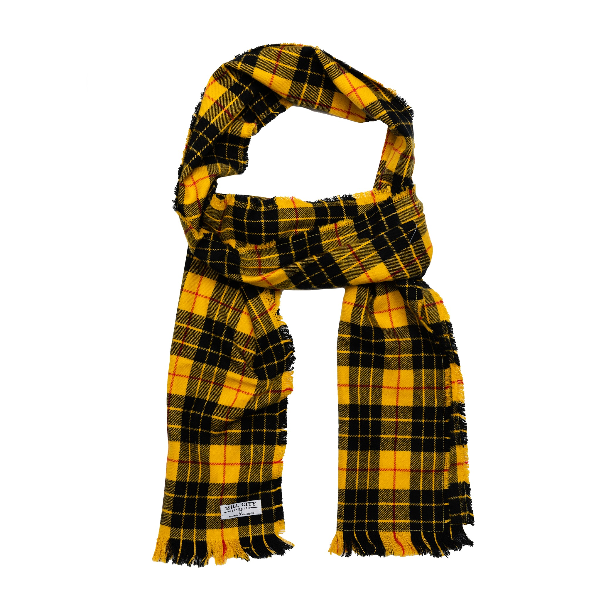 Black & Yellow Plaid Flannel Scarf
