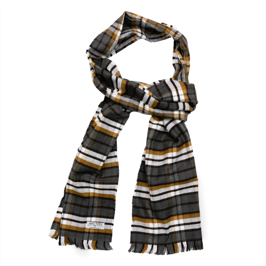 Gray & Tan Plaid Flannel Scarf