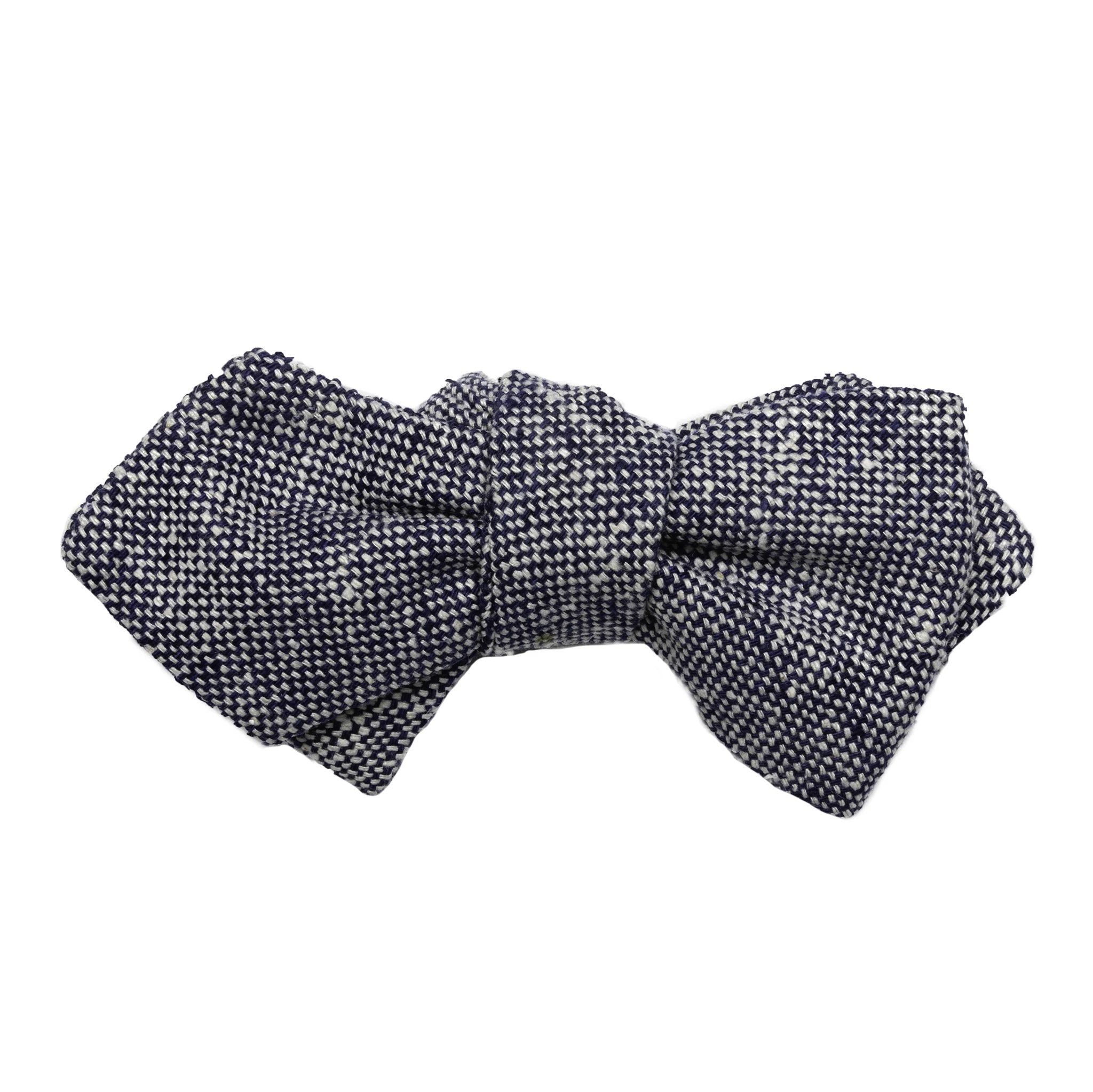 Blue & White Silk Tweed Bow Tie