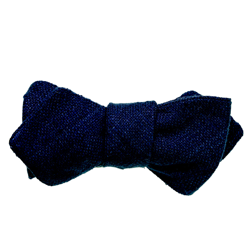 Deep Navy Raw Silk Bow Tie