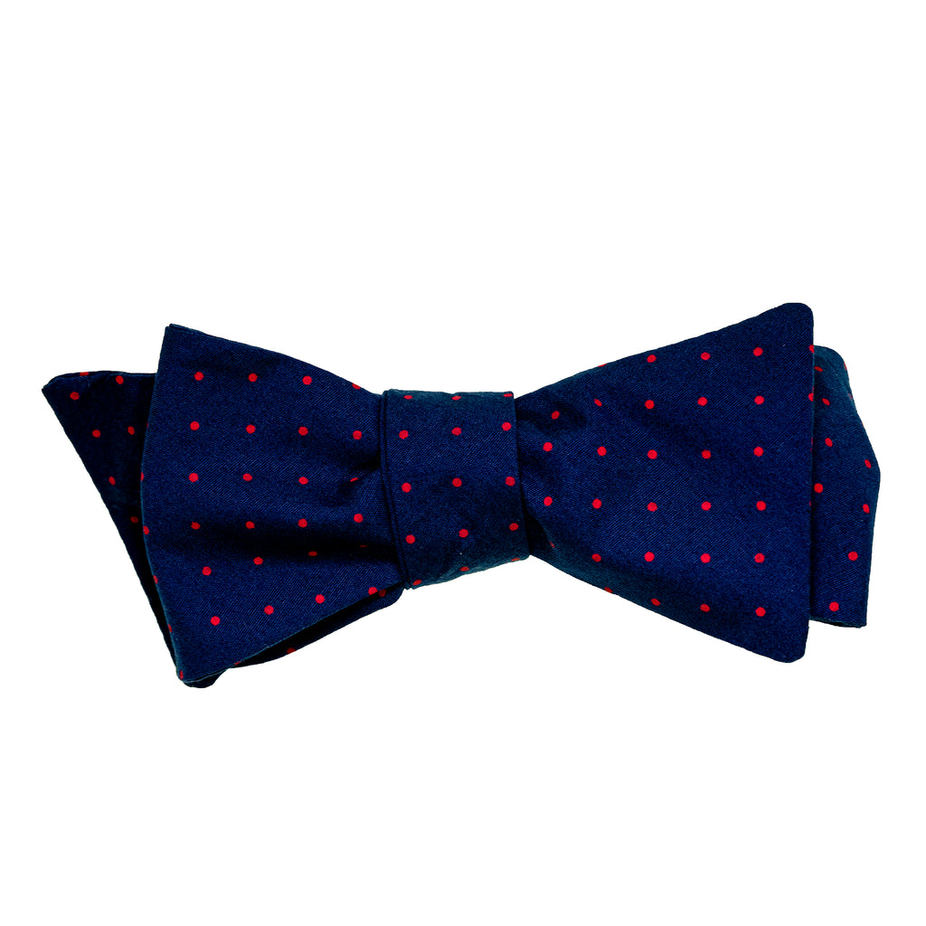 Navy & Red Pindot Bow Tie