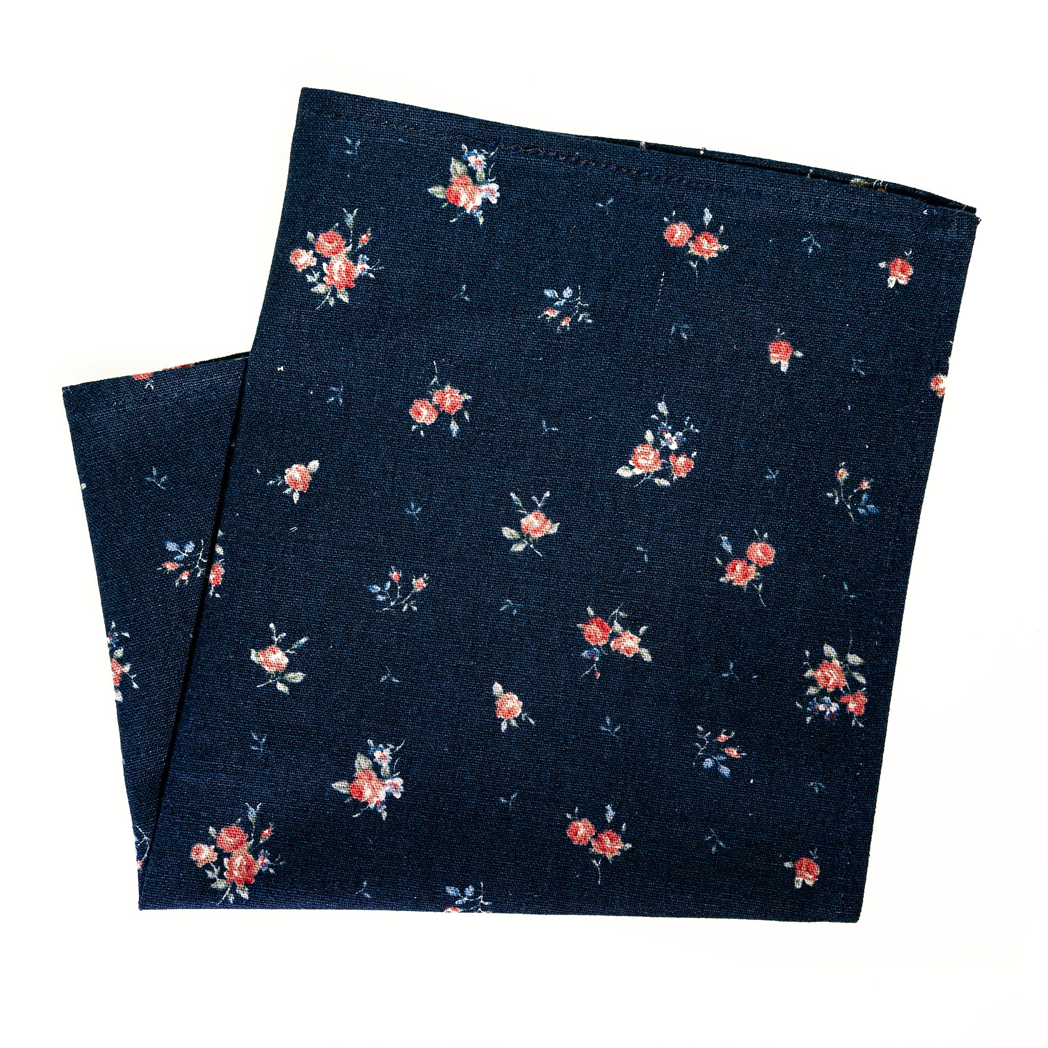 Japanese Floral Print on Navy Pocket Square