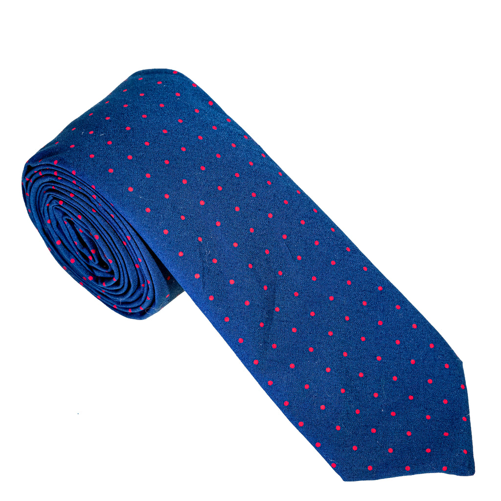 Navy & Red Pindot Necktie