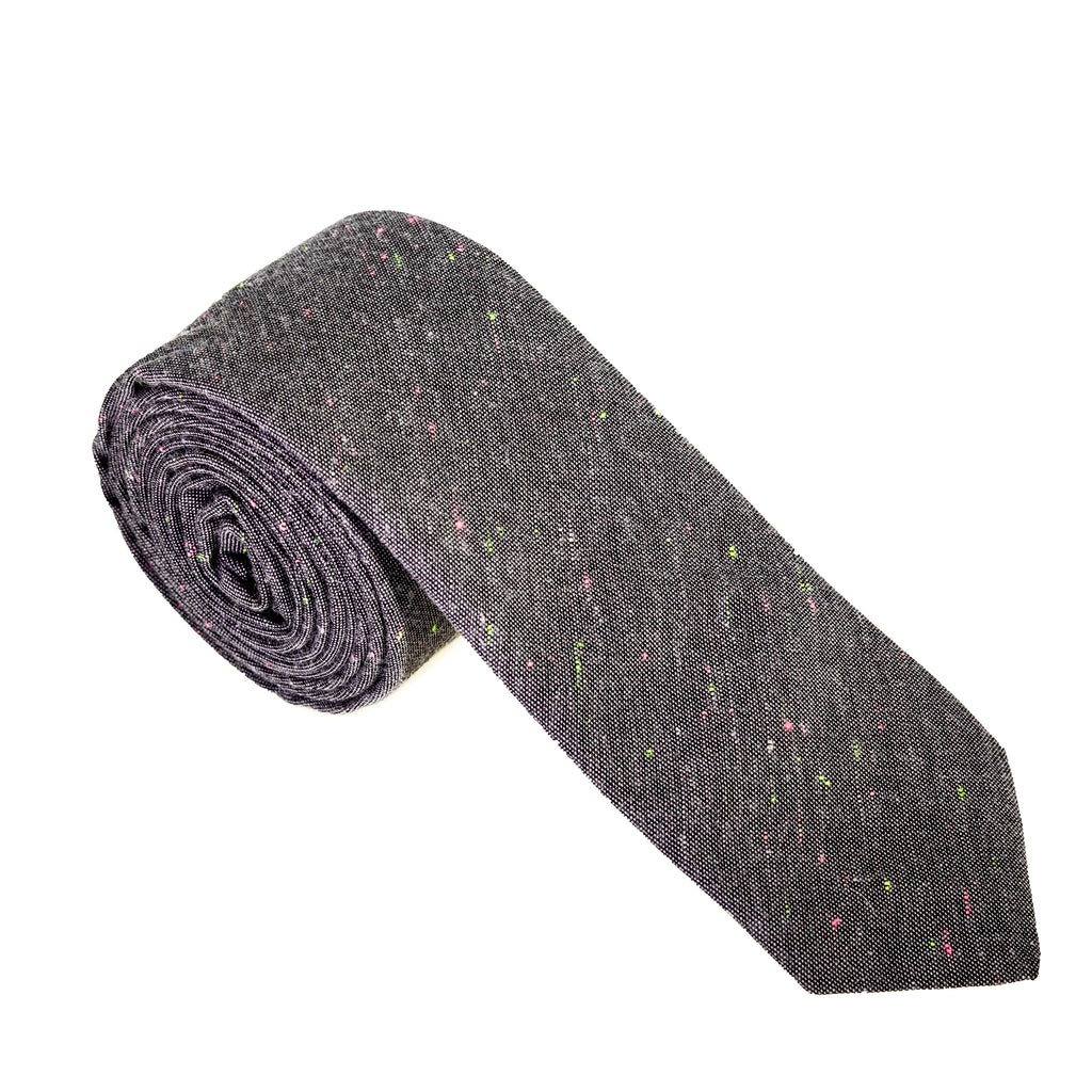 Charcoal Chambray Rainbow Donegal Necktie