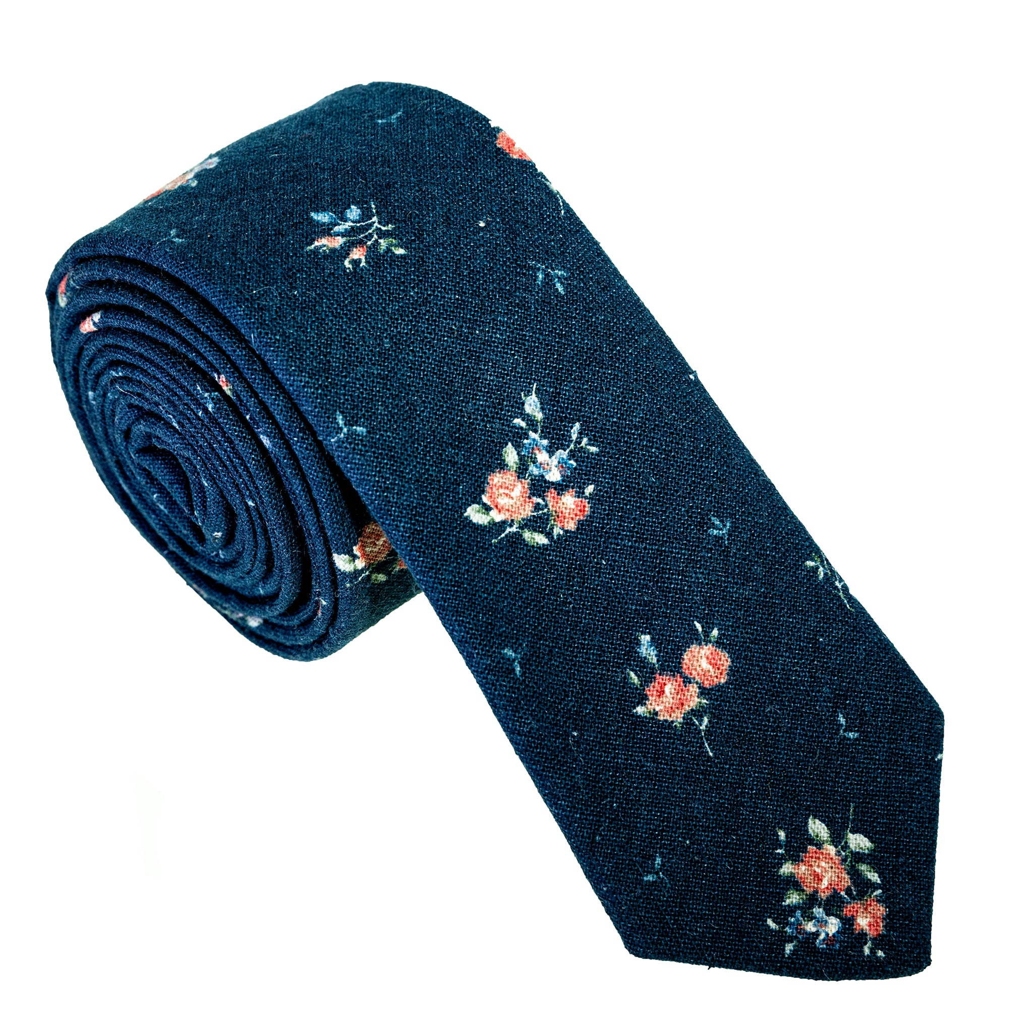 Japanese Floral Print on Navy Necktie
