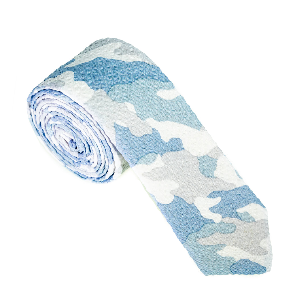 Light Gray Camo Seersucker Necktie
