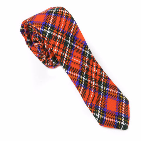 Bright Red Holiday Plaid Wool Necktie