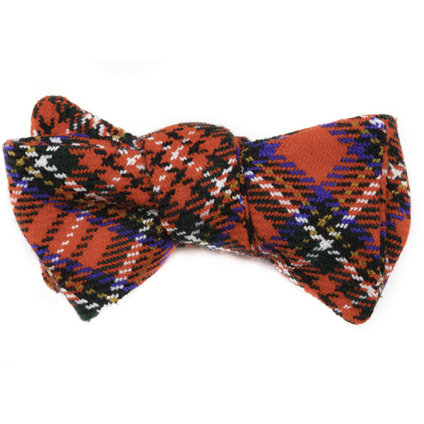 Bright Red Holiday Plaid Bow Tie