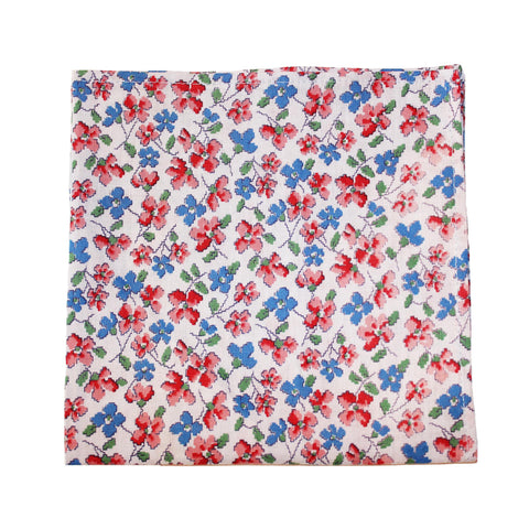 Red and blue floral pocket square