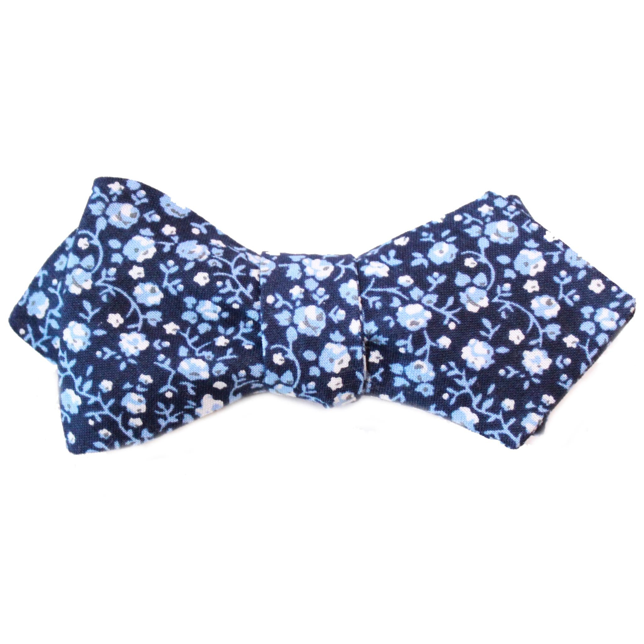 dark and light blue floral diamond point bow tie