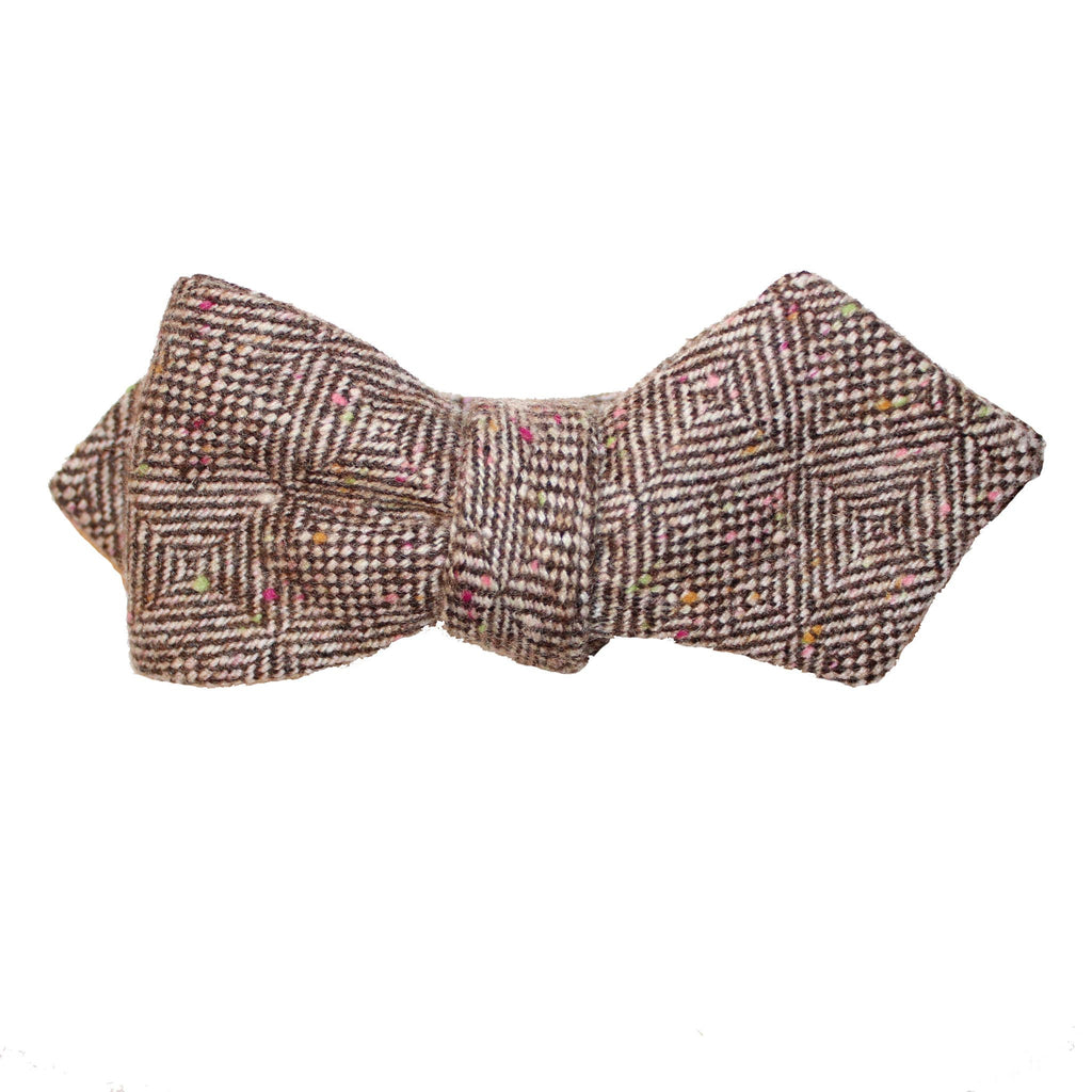 Jolly Professor Donegal Herringbone Tweed Diamond Point Bow Tie