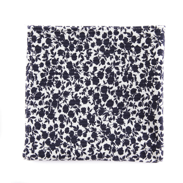 Navy Japanese Floral Pocket Square