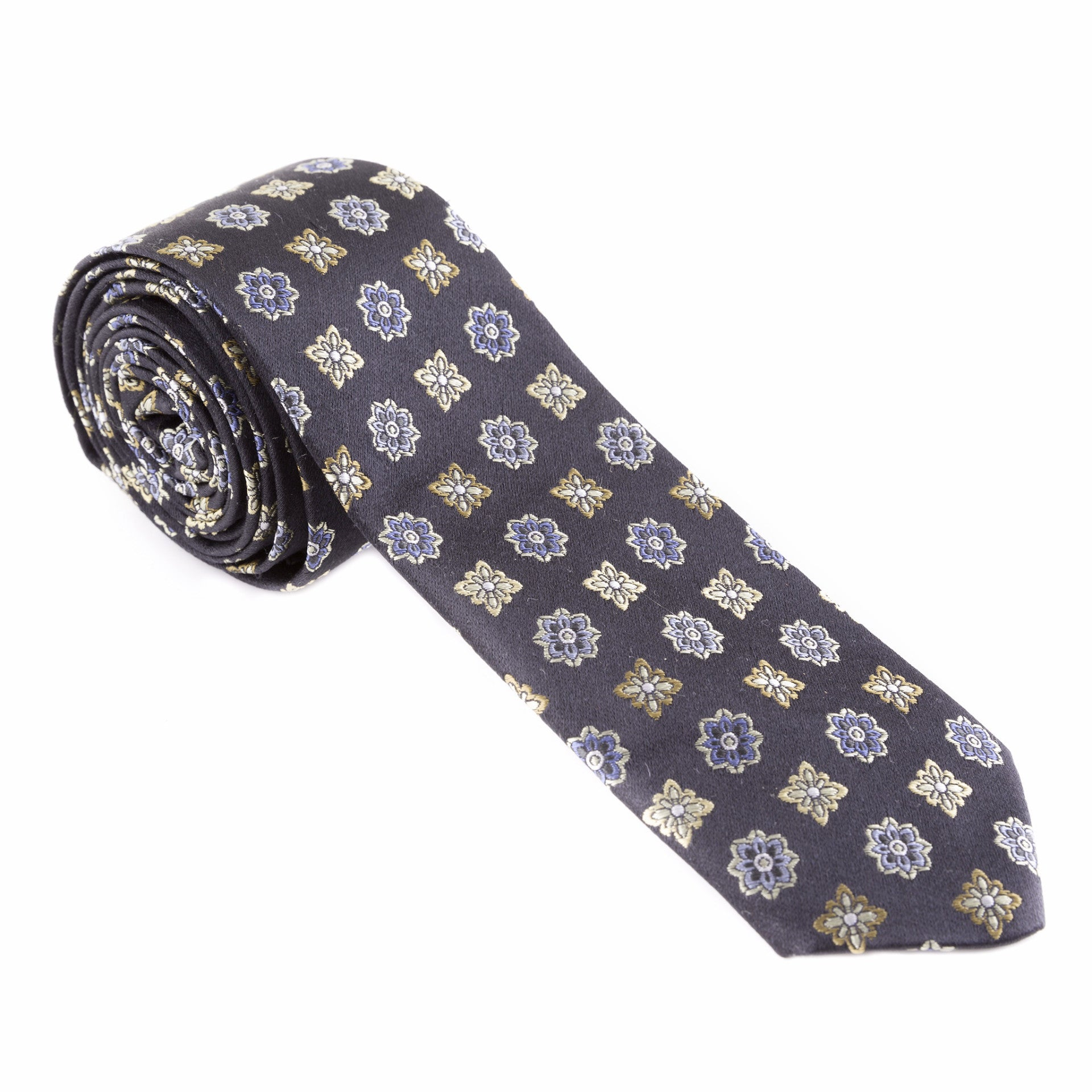 Blue and Yellow Floral Silk Necktie